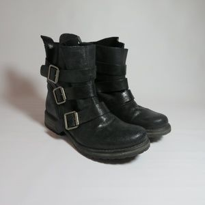 Steve Madden Leather Colony Buckle Boots